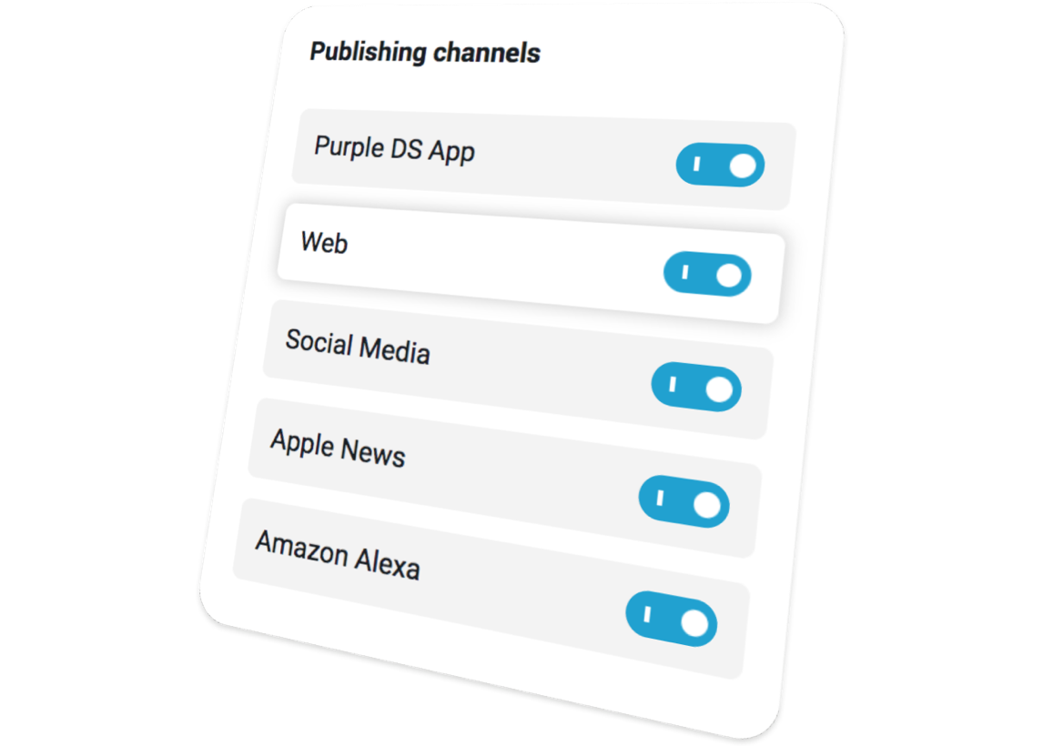 Purple DS multiple outcome channels of Multichannel Content Hub