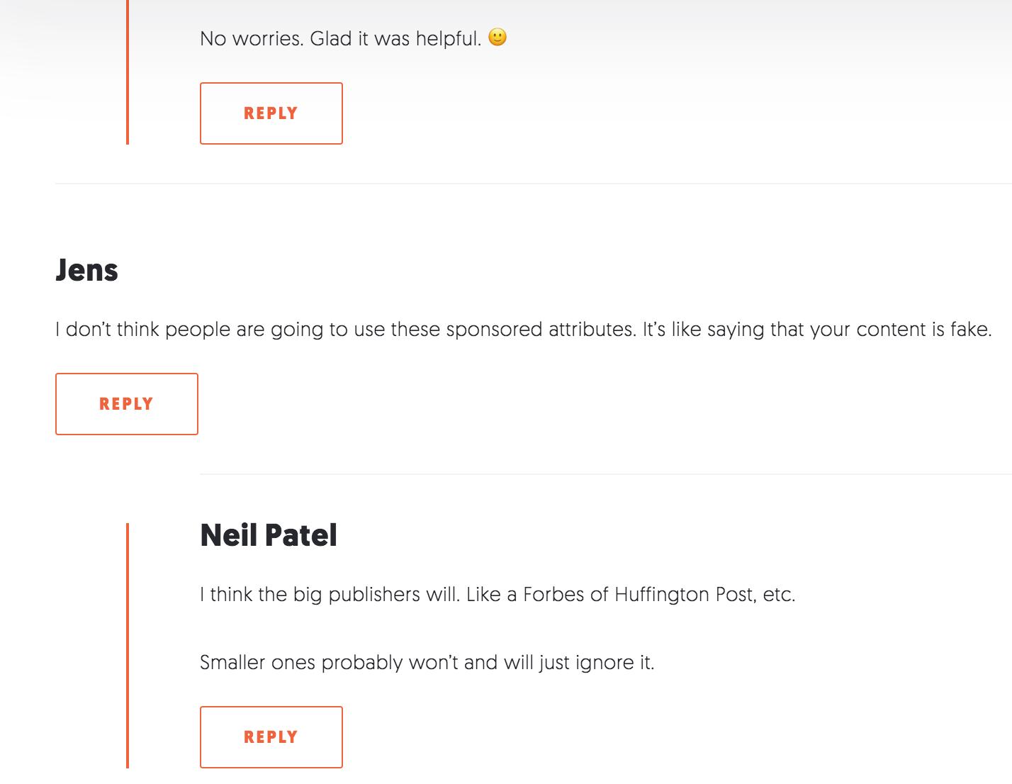 Neil Patel Comment Section