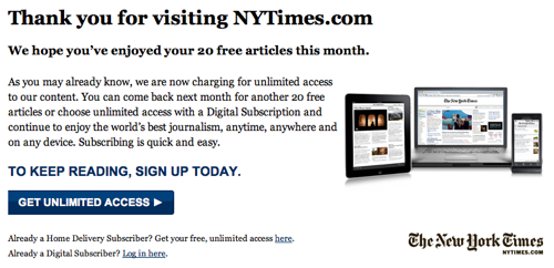 New York Times Freemium Paywall Model