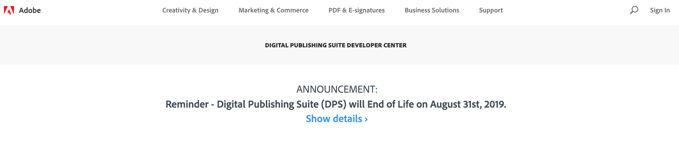 Adobe DPS Publishing Suite will End of Life End of 2019
