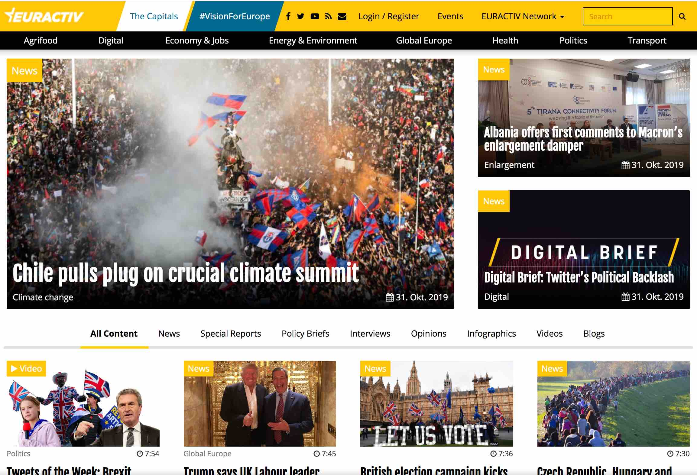 Screenshot of EurActiv.com, a multilingual policy news website