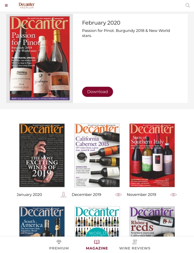 Decanter Storefront in the Magazine App