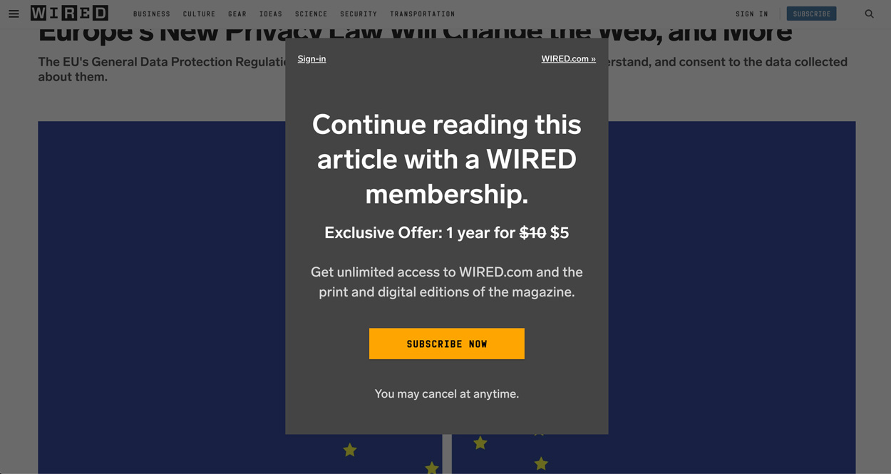 Wired's subscription and paywall experiments