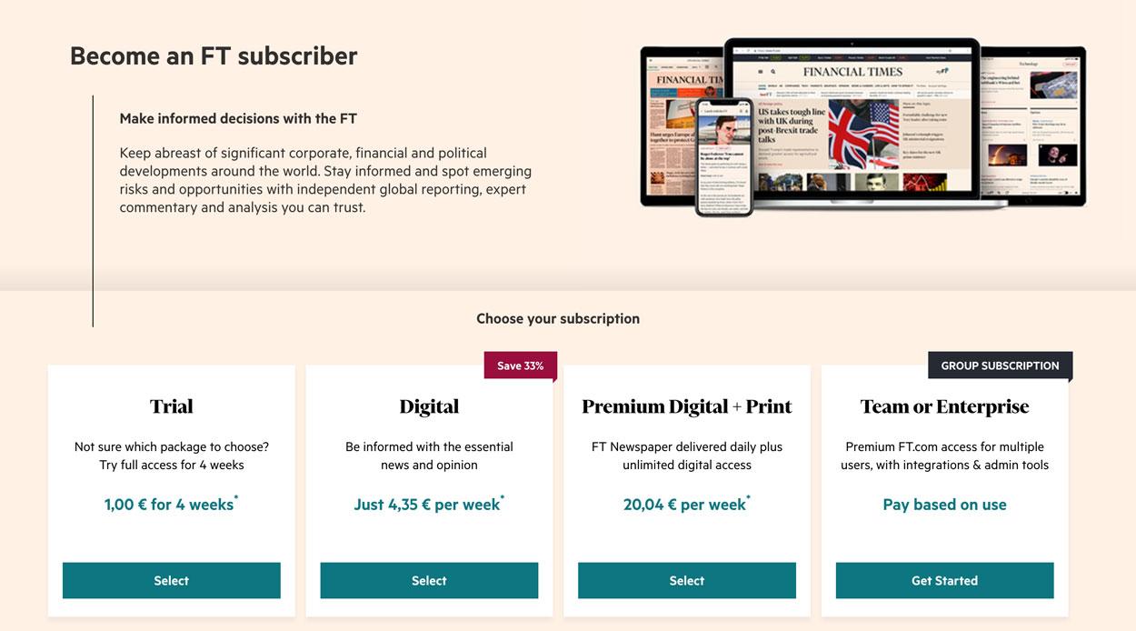Die Financial Times war dem Paywall-Trend voraus