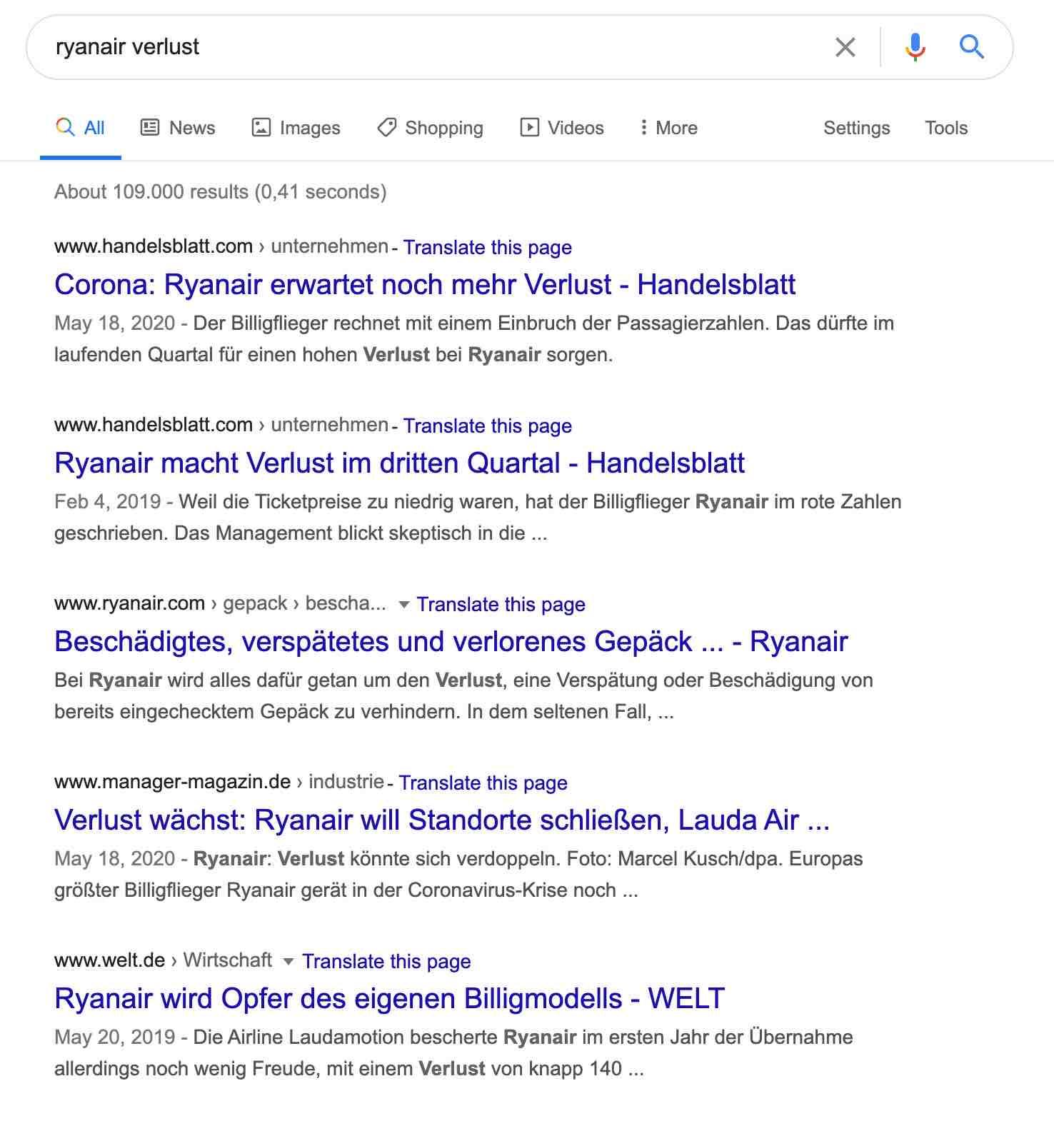 SEO für Verlage SERP Screenshot