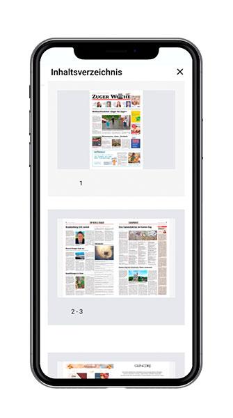 Multi-Title-App Swiss Regiomedia Zeitungsausgaben als ePaper Screenshot