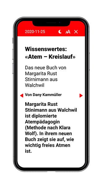 Swiss Regiomedia Multi-Title-App Lesemodus Screenshot