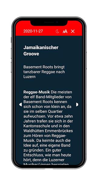 Swiss Regiomedia Multi-Title-App Dark Screen Screenshot