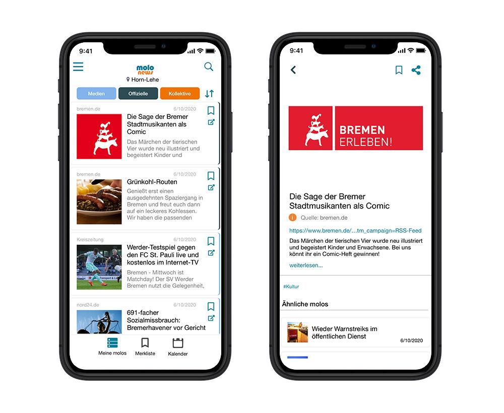 molo.news - eine lokale Nachrichten- und Informations-App für Bremen und Umgebung.
