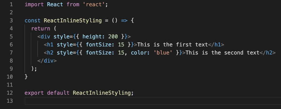 Direct inline styling in React