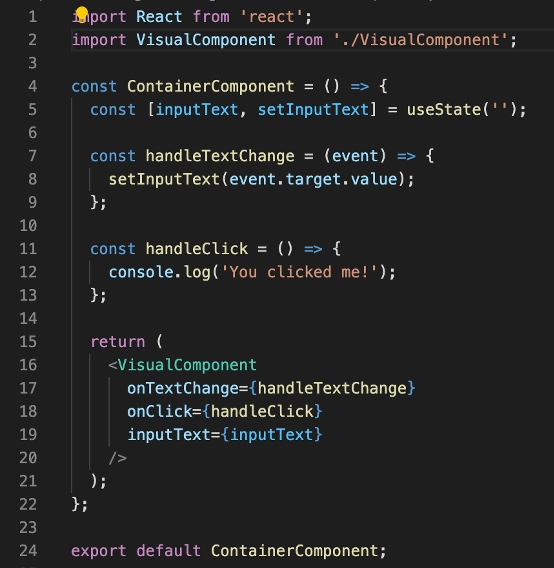 Example of a container component for sharing code