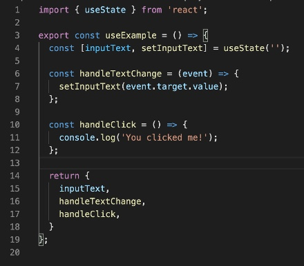 Example of a custom hook that can be used by components in React and React Native