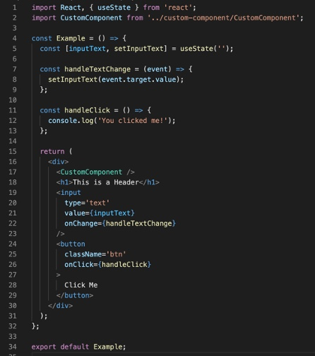 Examples of a simple component in React