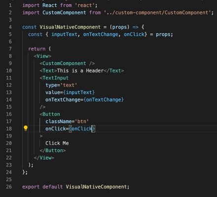 Examples of equivalent visual components for React Native