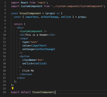 Examples of equivalent visual components for React