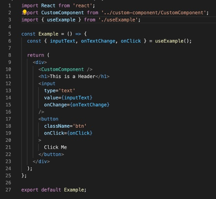 Examples of visual components using a custom hook in React