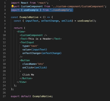 Examples of visual components using a custom hook in React Native