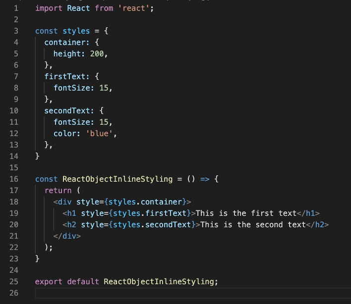 Inline styling in React using a styles object
