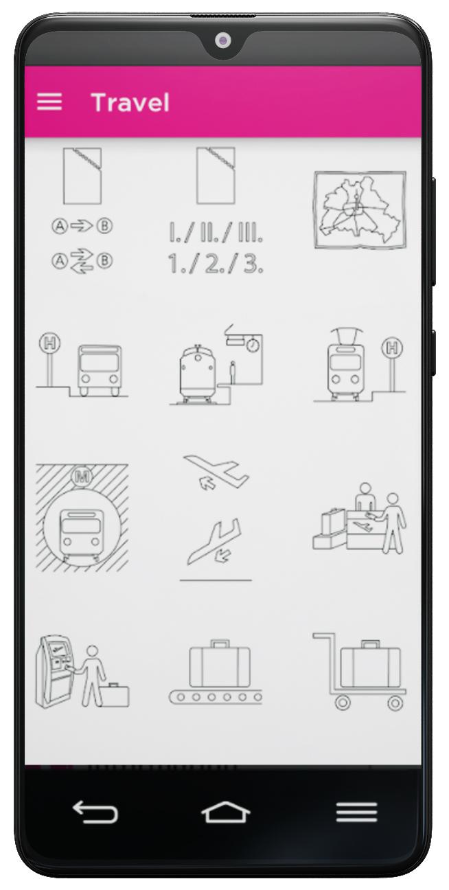 Icoon for refugees App Zeichen Reisen