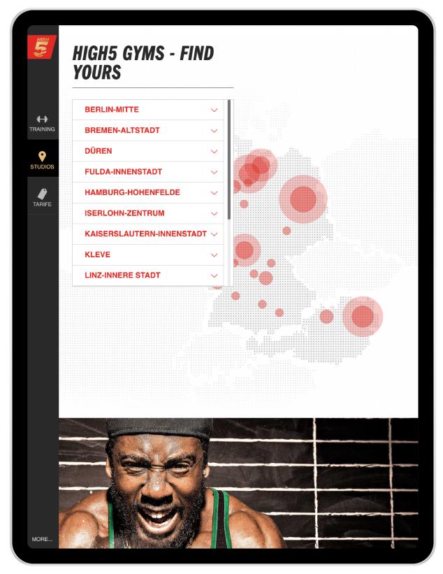 McFit Tablet App High5 Locations