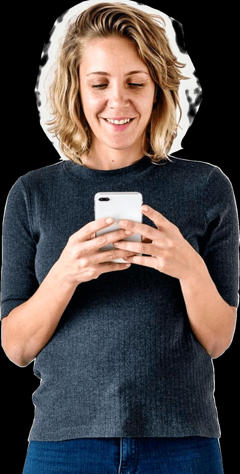 App Entwicklung für Frau mit Handy