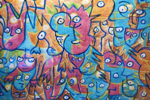 Back to the culture. Freiburger Künstlerinnen und Künstler zeigen Werke, die während der Corona-Pandemie entstanden sind. Bild: Detail eines ausgestellten Werks. Foto: FN / Corinne Aeberhard, Freiburg, 17.10.2021